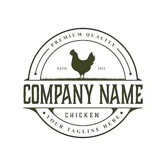 Modèle de conception de logo de poulet rustique vintage