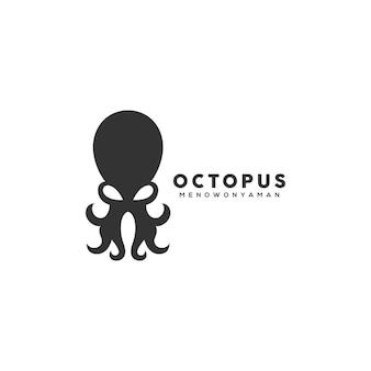 Modèle de conception de logo de poulpe noir
