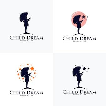 Modèle de conception de logo pour atteindre les étoiles
