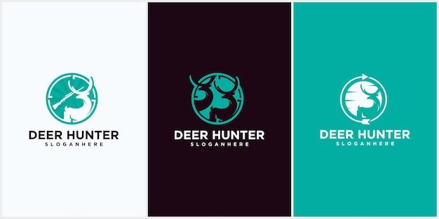 Modèle de conception de logo pour le club de chasse au cerf silhouette vectorielle du club de chasse au cerf à tête de cerf, modèle de logo pour le club de chasse. deux silhouettes de cerfs et de fusils isolés sur fond blanc.