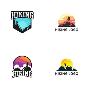 Modèle de conception de logo de randonnée
