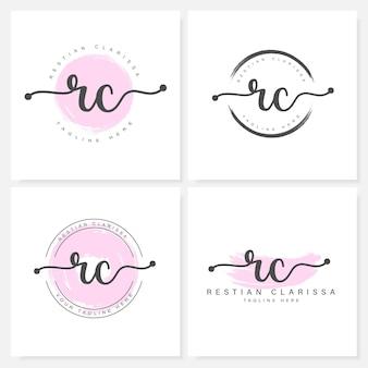 Modèle de conception de logo rc lettres florales féminines