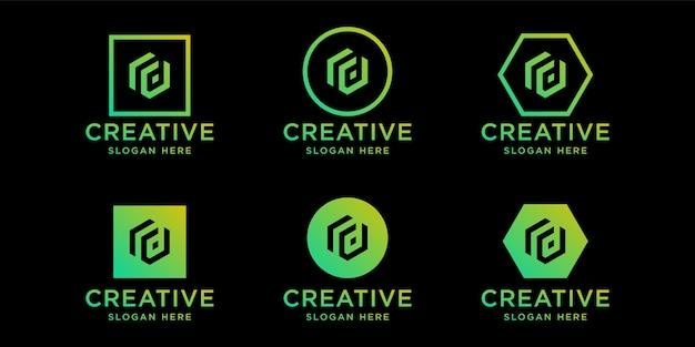 Modèle de conception de logo rd initiales