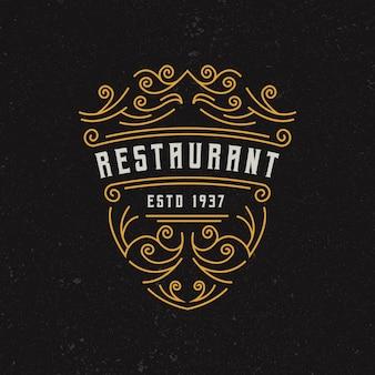 Modèle de conception de logo de restaurant vintage
