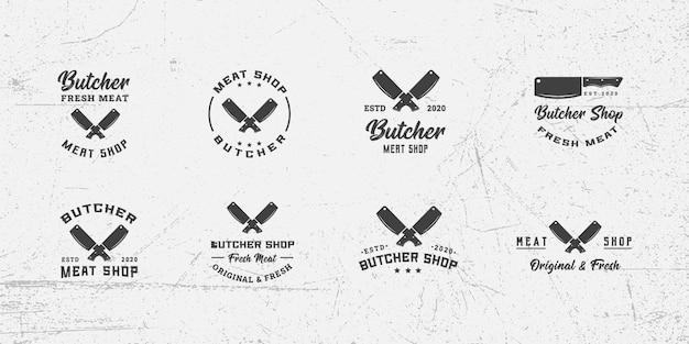 Modèle de conception de logo rétro de boucherie