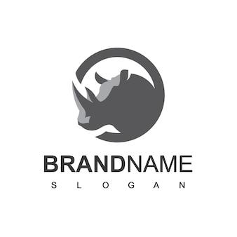 Modèle de conception de logo de rhinocéros