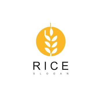 Modèle de conception de logo de riz