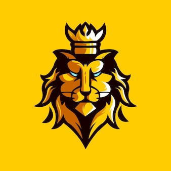 Modèle de conception de logo de roi lion