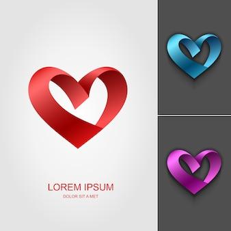 Modèle de conception de logo de ruban coeur valentine