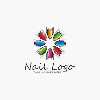 Modèle de conception de logo de salon de l'ongle.