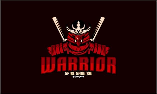 Modèle de conception de logo samouraï