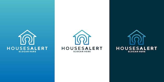 Modèle de conception de logo de sécurité à domicile pour votre entreprise immobilière, bâtiment, construction