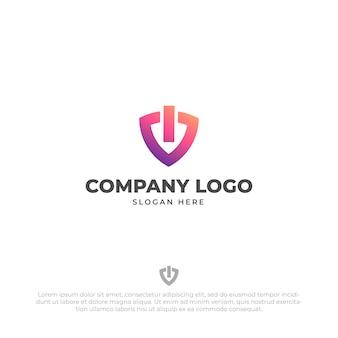 Modèle de conception de logo de sécurité tech