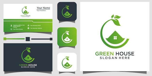 Modèle de conception de logo de serre nature