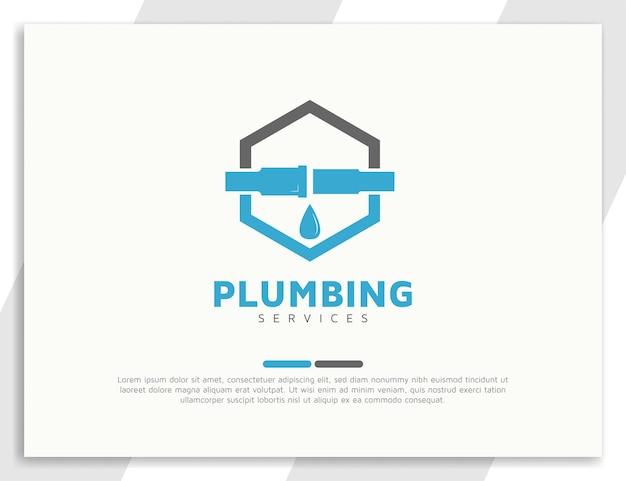 Modèle de conception de logo de services de plomberie hexagonale simple