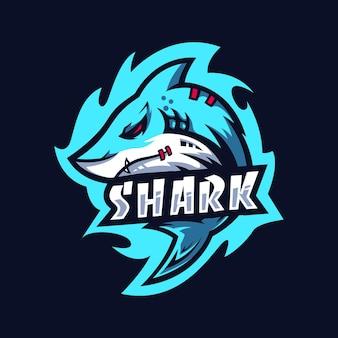 Modèle de conception de logo shark esport