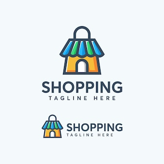 Modèle de conception de logo shopping coloré moderne