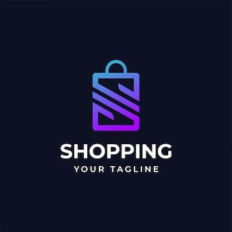 Modèle de conception de logo shopping avec la lettre s