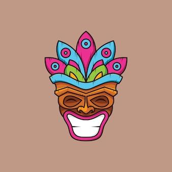 Modèle de conception de logo de signe de culture traditionnelle abstraite masque tribal illustration