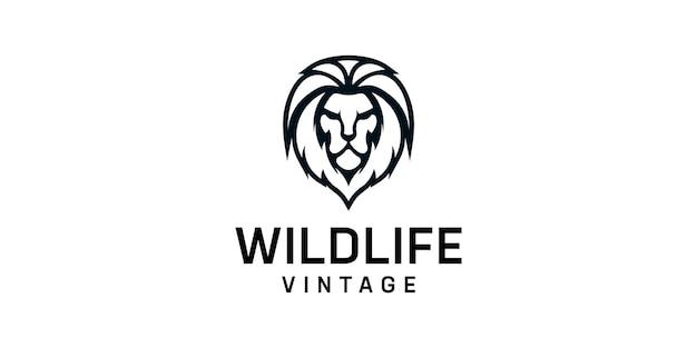 Modèle de conception de logo de silhouette de lion vintage.