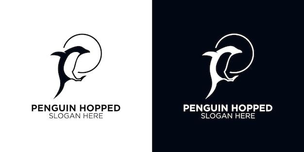 Modèle de conception de logo silhouette pingouin