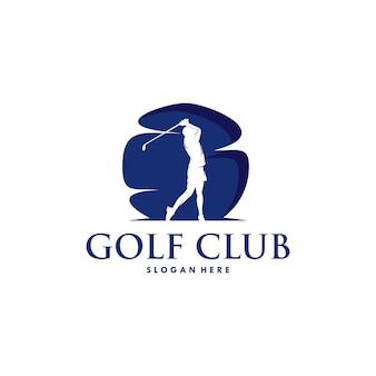Modèle de conception de logo de silhouette de sport de golf
