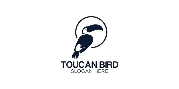 Modèle de conception de logo silhouette toucan