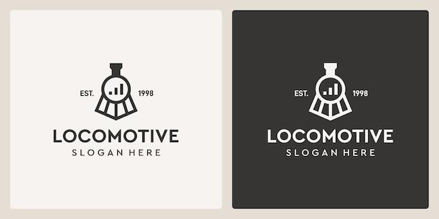 Modèle de conception de logo simple et ancien train de locomotive et investissement.
