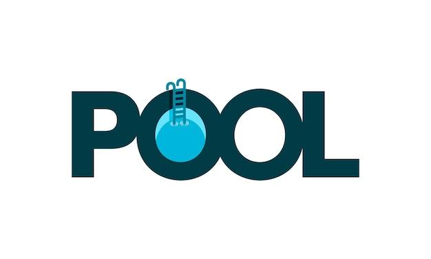 Modèle de conception de logo simple piscine