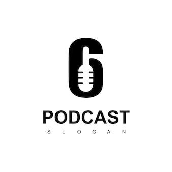Modèle de conception de logo de six podcasts