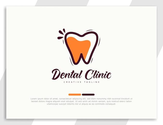 Modèle de conception de logo de soins dentaires plats