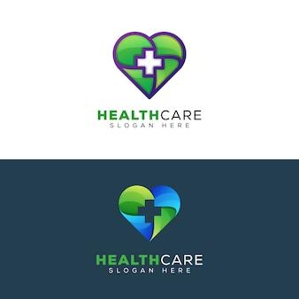 Modèle de conception de logo de soins de santé ou de coeur médical