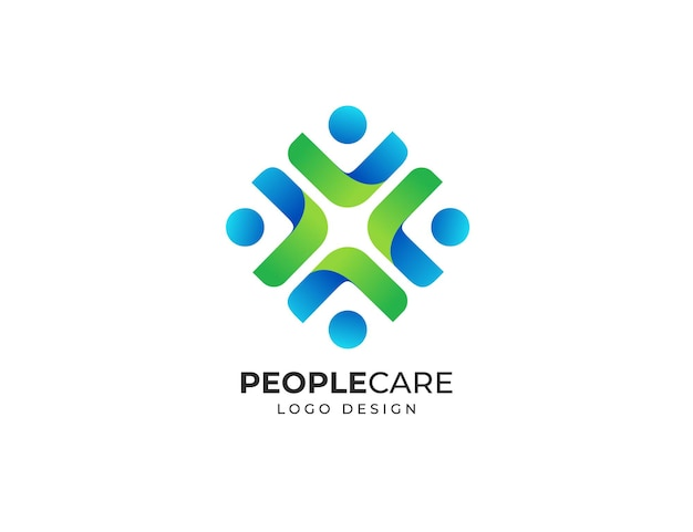 Modèle de conception de logo de soins de santé de personnes