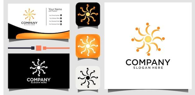 Modèle de conception de logo soleil abstrait