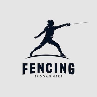 Modèle de conception de logo de sport d'escrime