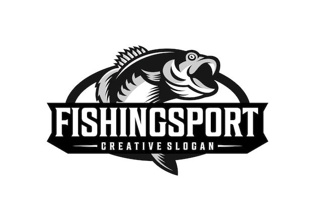 Modèle de conception de logo de sport de pêche génial