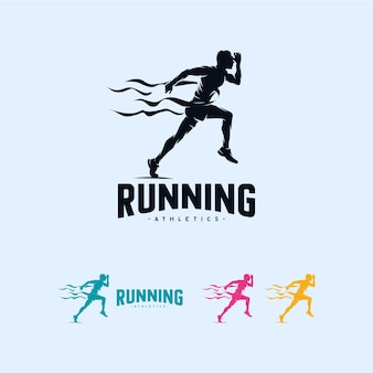 Modèle de conception de logo sprint running athletics marathon