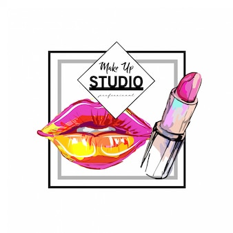 Modèle de conception de logo de studio de maquillage.