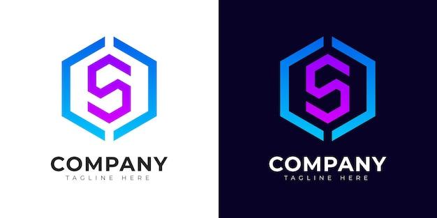 Modèle de conception de logo de style dégradé moderne lettre initiale s