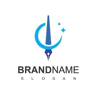 Modèle de conception de logo stylo entreprise et société d'avocats symbole de l'entreprise