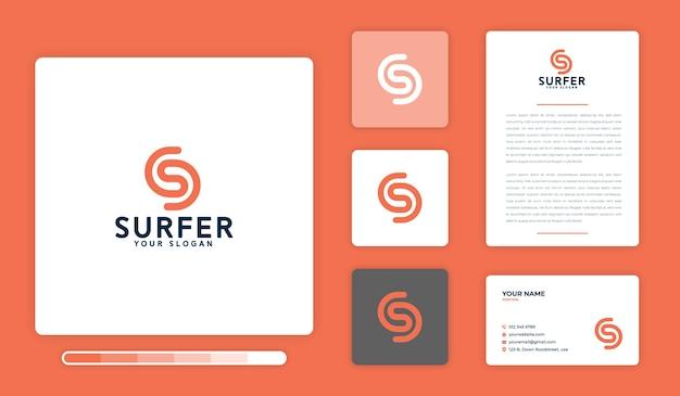 Modèle de conception de logo de surfeur