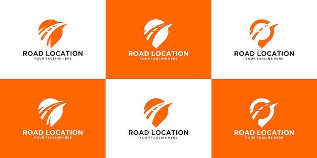 Modèle de conception de logo de symbole de route et d'emplacement d'expédition