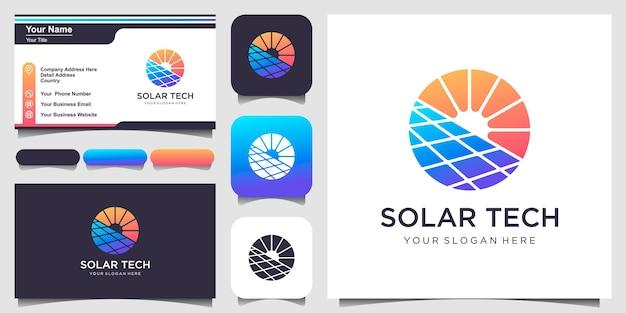 Modèle de conception de logo symbole soleil énergie solaire et conception de carte de visite