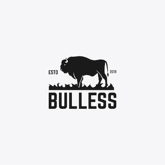 Modèle de conception de logo de taureau fort
