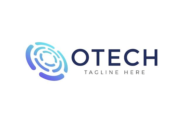 Modèle de conception de logo de technologie de cercle