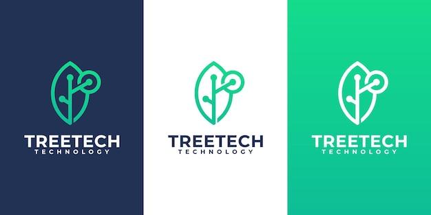 Modèle de conception de logo de technologie de feuille, symbole de logo de technologie créative
