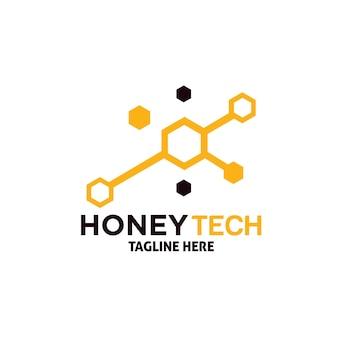 Modèle de conception de logo de technologie de miel
