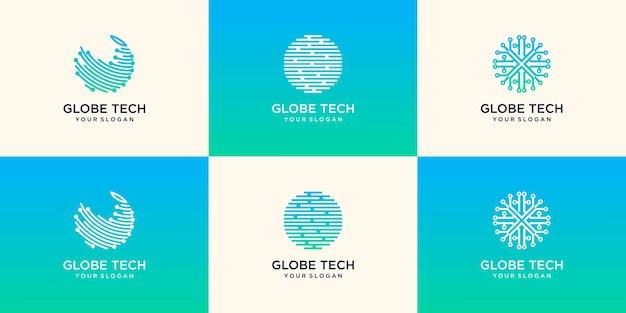 Modèle de conception de logo de technologie mondiale abstrait numérique