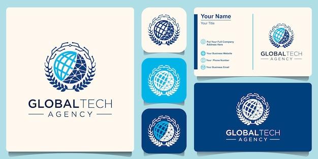 Modèle de conception de logo de technologie mondiale.