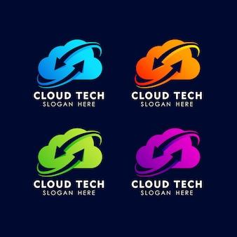 Modèle de conception de logo technologie nuage